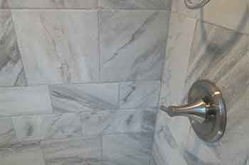 varied tile patter in shower
