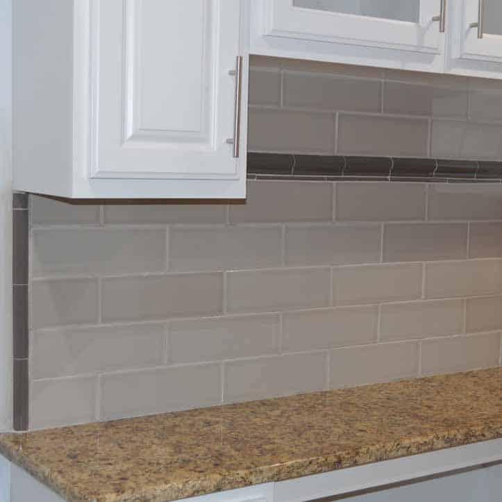 kitchen back-splash with subway tiles